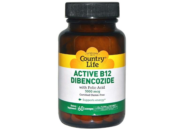 Image of Active B12 Dibencozide 3000 mcg (60 Lozenges) - Country Life 0015794062424