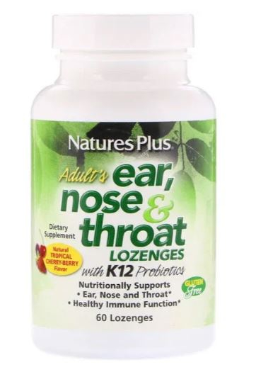Image of Adult's Ear - Nose & Throat Lozenges - Natural Tropical Cherry Berry (60 Lozenges ) - Nature's Plus 0097467492547