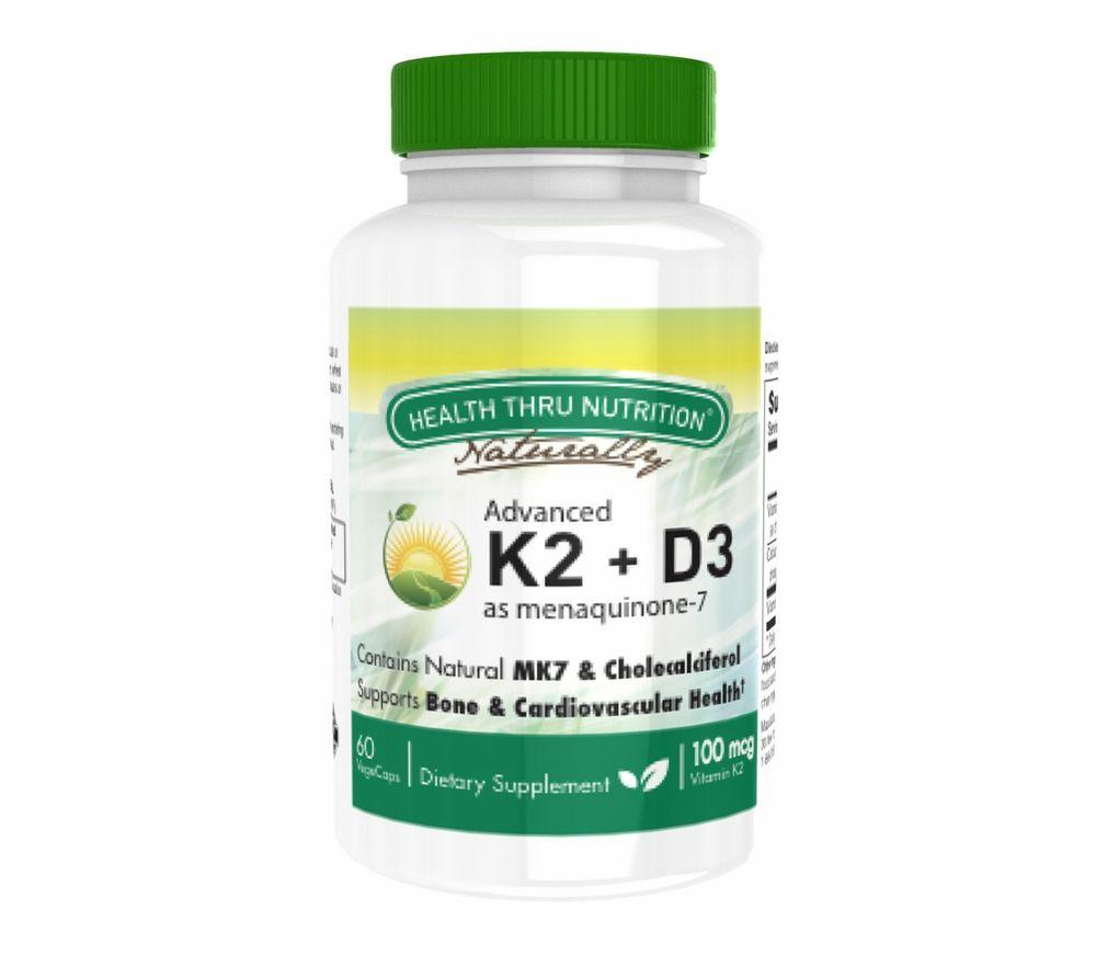 Image of K2 (100 mcg as Menaquinone 7) + D3 (1000iu) (60 Vegicaps) - Health Thru Nutrition 0819193020715