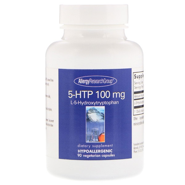Image of 5-HTP 100 mg 90 Vegetarian Capsules - Allergy Research Group 0713947871946