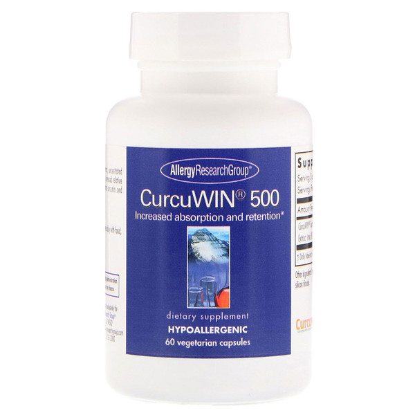 Image of CurcuWin 500 60 Vegetarian Capsules - Allergy Research Group 0713947772908