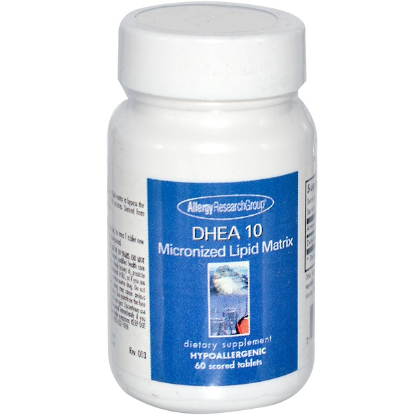 Image of DHEA 10 Micronized Lipid Matrix 60 Scored Tablets - Allergy Research Group 0713947747807