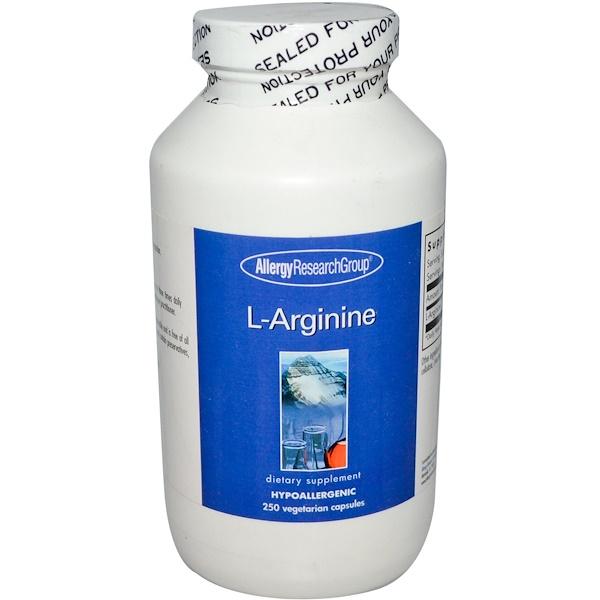 Image of L-Arginine 250 Veggie Caps - Allergy Research Group 0713947839144