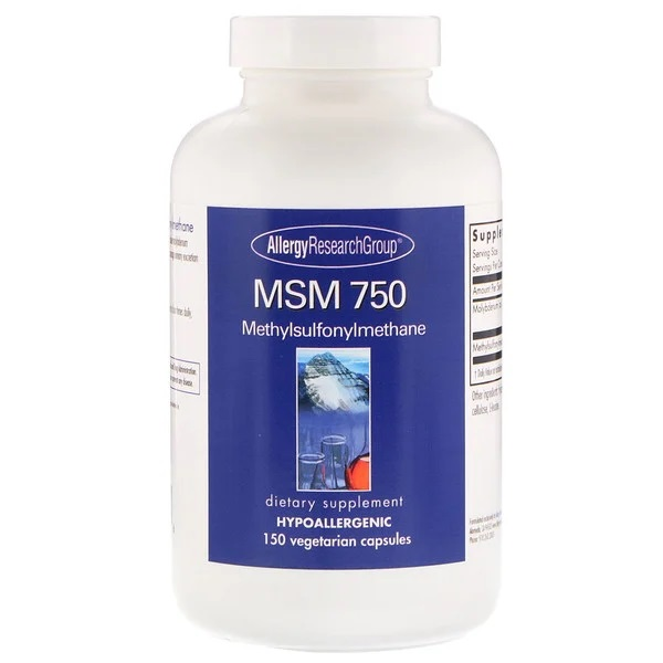 Image of MSM 750 150 Vegetarian Capsules - Allergy Research Group 0713947828520
