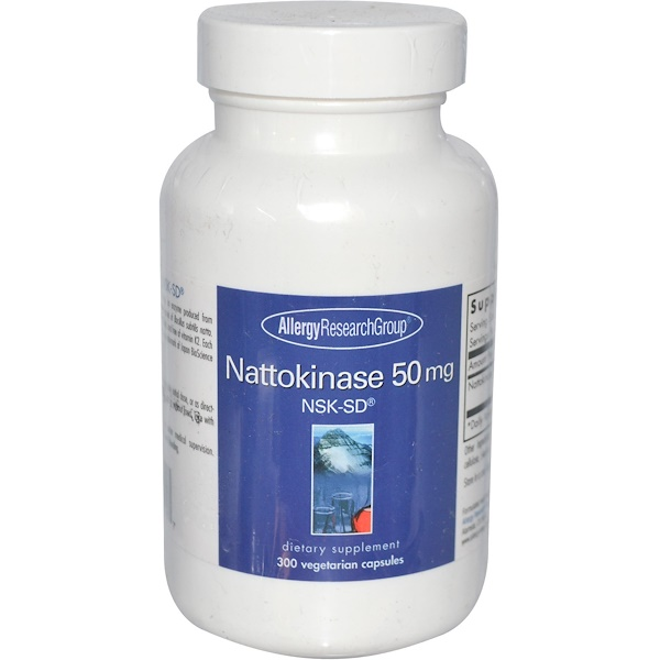Image of Nattokinase 50 mg NSK-SD 300 Veggie Caps - Allergy Research Group 0713947752917
