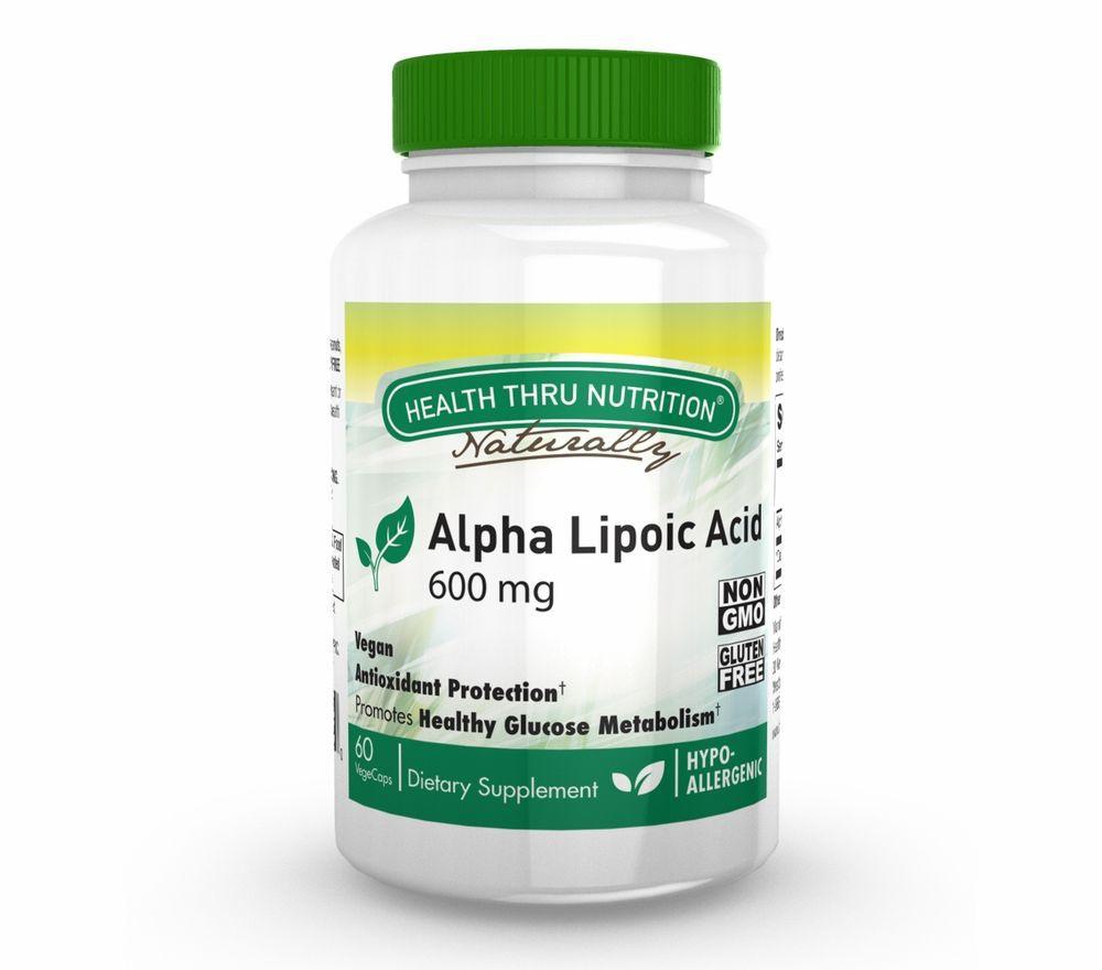 Image of Alpha Lipoic Acid 600 mg (60 Vegicaps) - Health Thru Nutrition 0819193020890