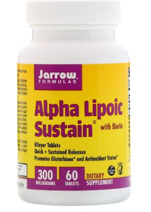 Image of Alpha Lipoic Sustain with Biotin 300 mg (60 tablets) - Jarrow Formulas 0790011200109