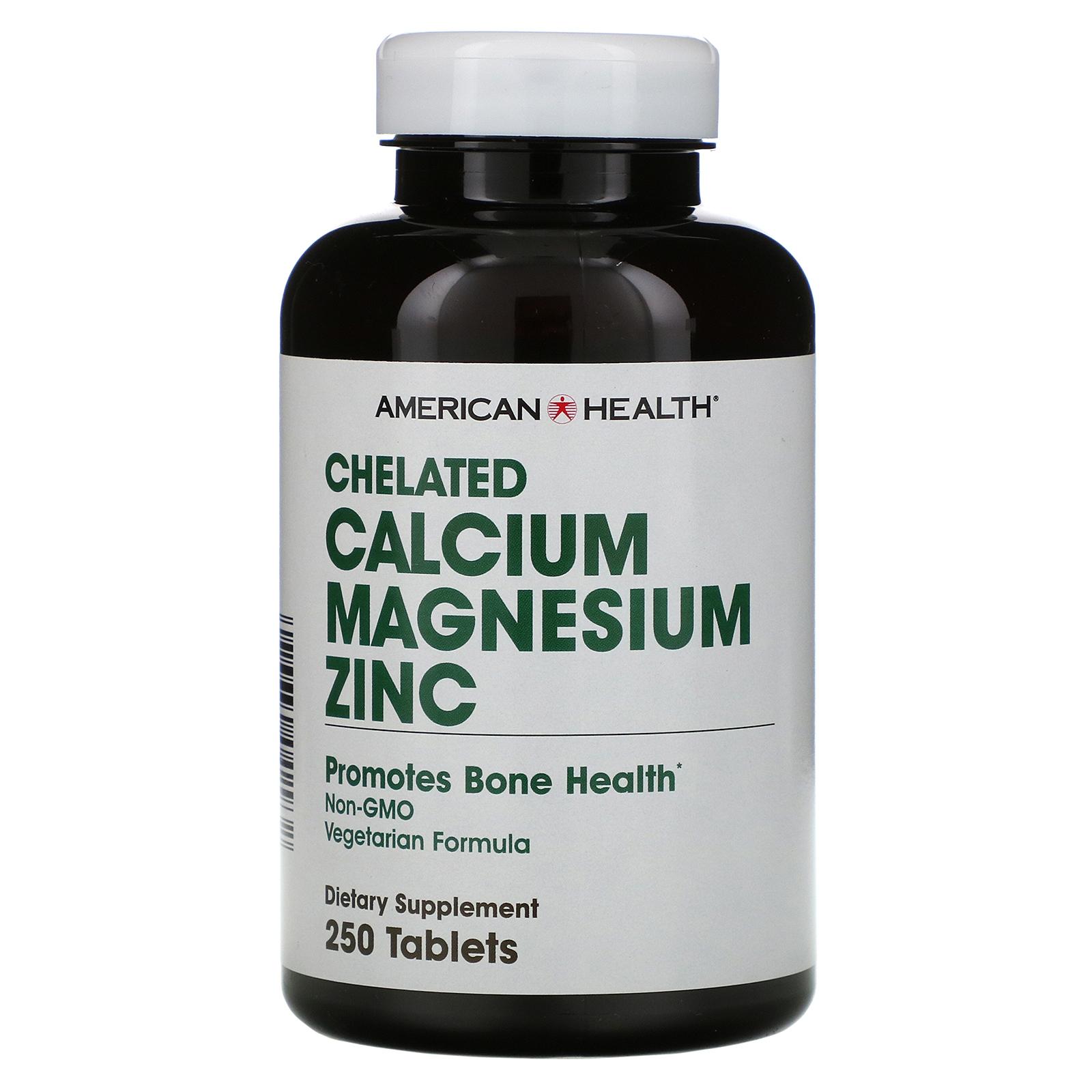Chelated Calcium Magnesium Zinc (250 tablets) American Health