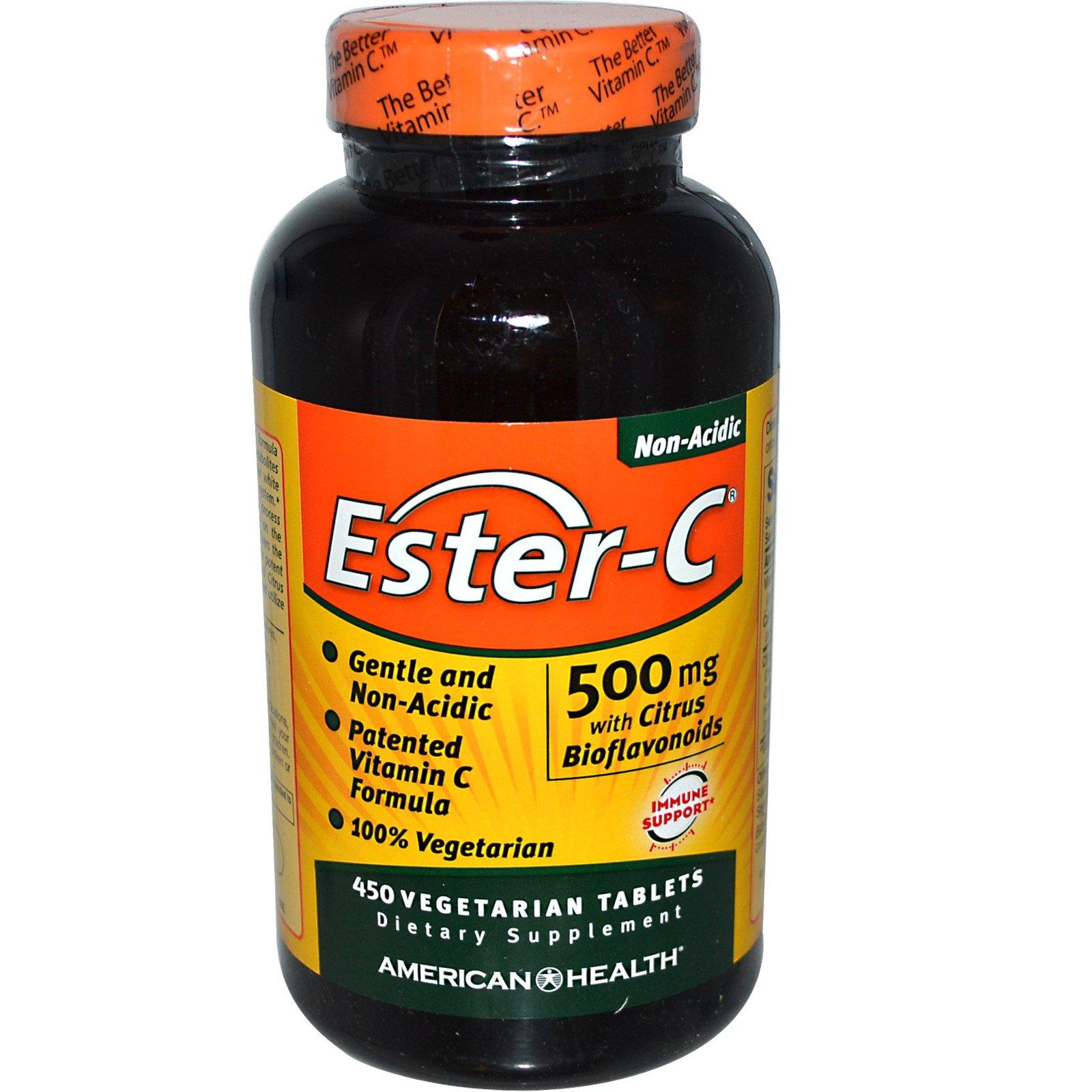 Image of Ester-C with Citrus Bioflavonoids 500 mg (450 Veggie Tabs) - American Health 0076630169561