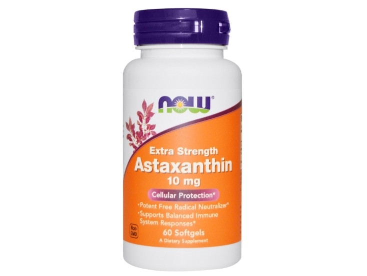 Image of Astaxanthin 10 mg (60 Softgels) - Now Foods 0733739022516