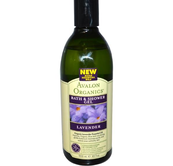 Image of Avalon Organics, Bath & Shower Gel, Lavender, 12 fl oz (355 ml) 0654749351802