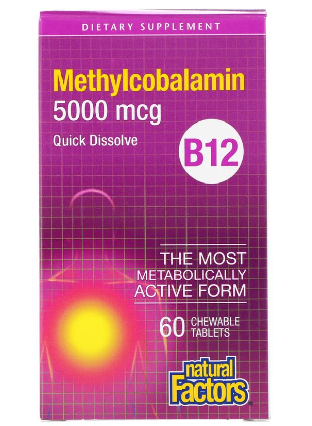 Image of B12- Methylcobalamin- 5000 mcg (60 chewable tablets) - Natural Factors 0068958012476