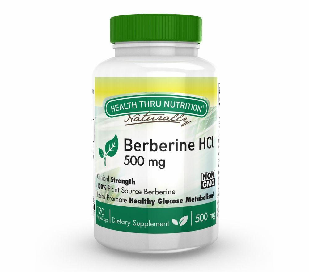 Image of Berberine HCl 500 mg (non-GMO) (120 Vegicaps) - Health Thru Nutrition 0819193020050