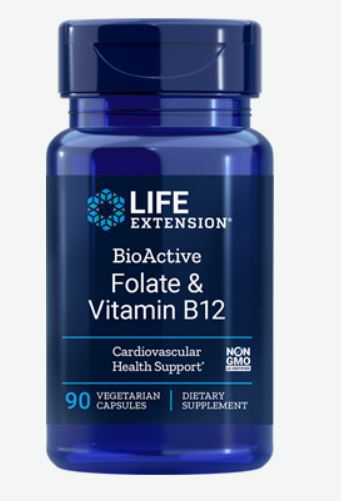 Image of BioActive Folate and Vitamin B12 (90 Veggie Capsules) - Life Extension 0737870184294