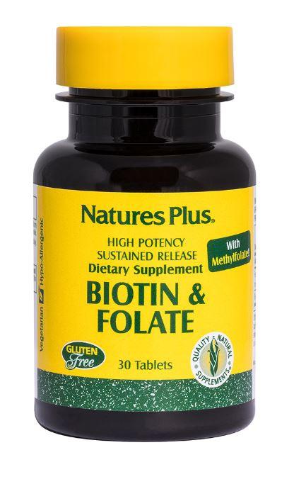 Image of Biotin & Folic Acid, 30 Tablets - Nature's Plus 0097467017924