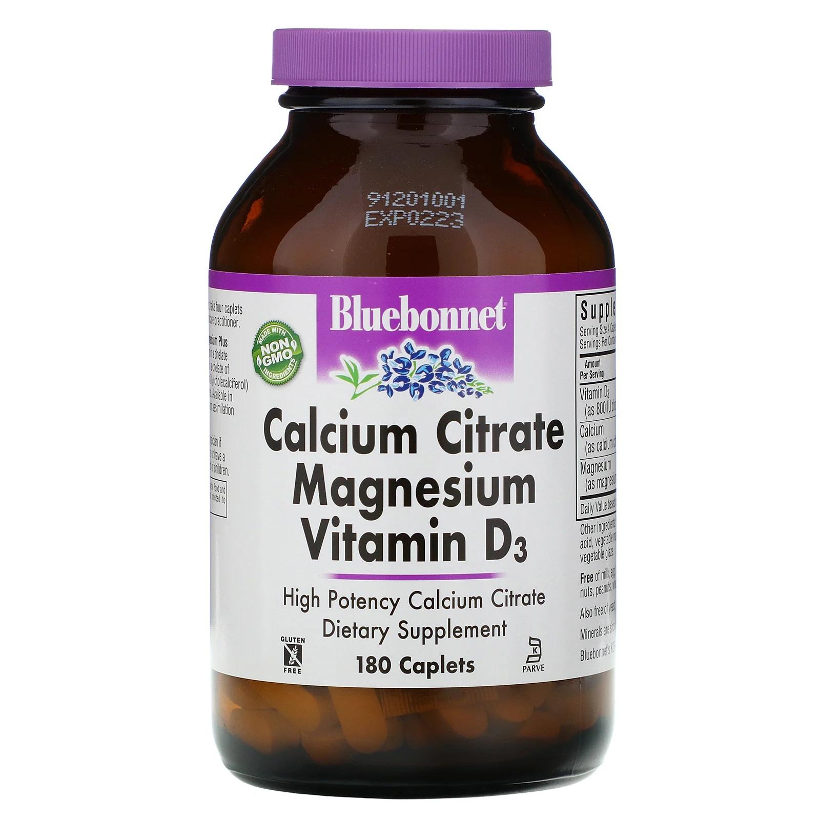 Image of Calcium Citrate Magnesium Vitamin D3 (180 caplet) - Bluebonnet Nutrition 0743715007178