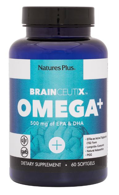 Image of Brainceutix Omega+ 500 mg (60 Softgels) - Nature's Plus 0097467810068