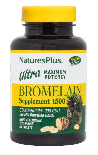 Image of Bromelain Supplement 1500 Ultra Maximum Potency (60 Tablets) - Nature's Plus 0097467044067