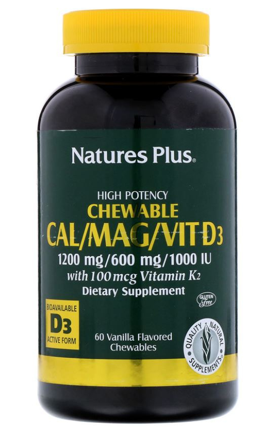 Image of Cal/Mag/Vit D3 Vanilla Flavored (60 Chewable Tablets) - Nature's Plus 0097467336490