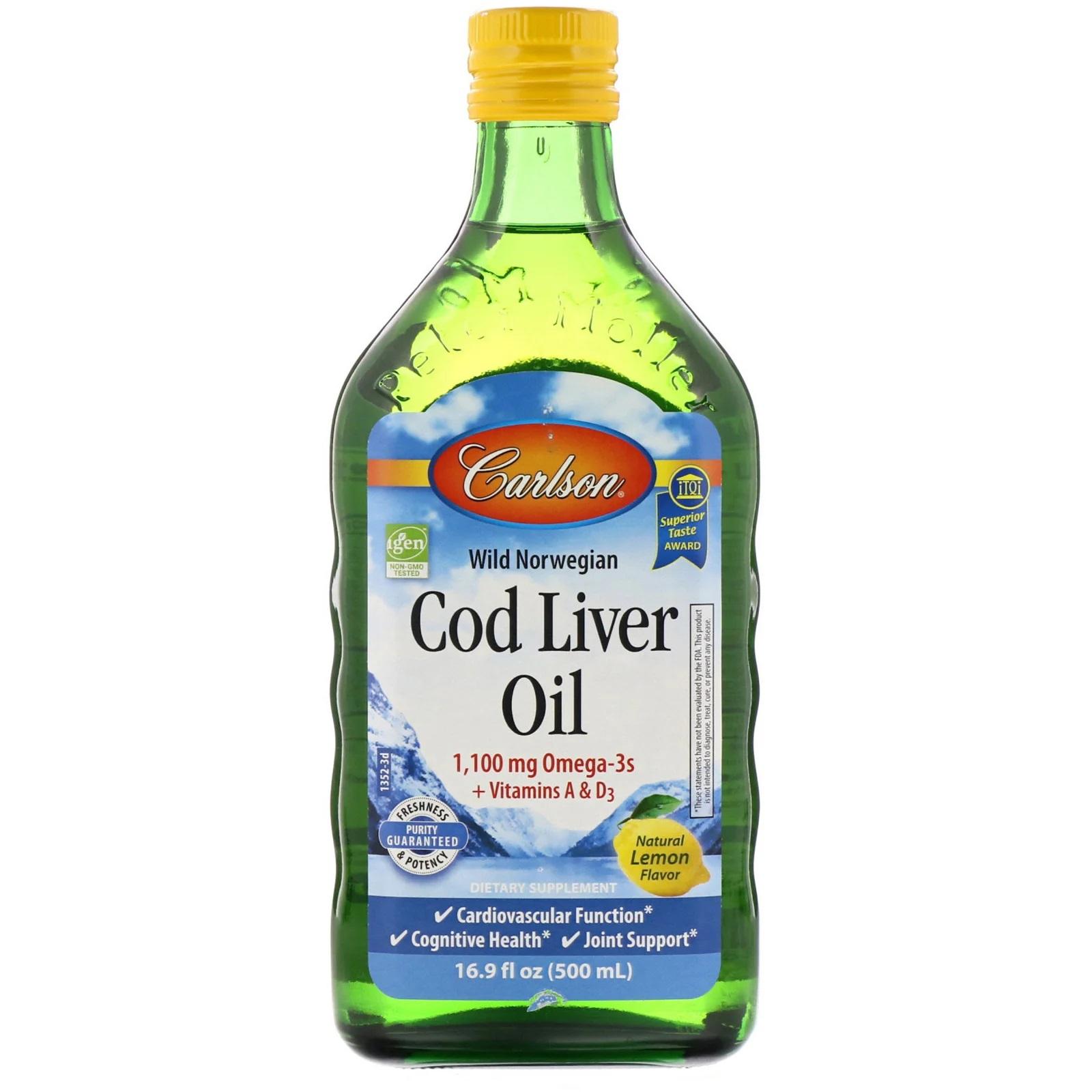 Image of Wild Norwegian Cod Liver Oil- Natural Lemon (500 ml) - Carlson Laboratories 0088395013522