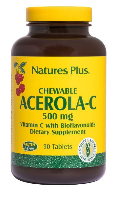 Image of Chewable Acerola-C Vitamin C with Bioflavonoids 500 mg (90 Tablets) - Nature's Plus 0097467024601