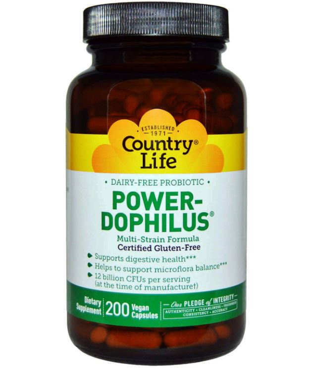 Image of Country Life, glutine libero, Power-Dophilus, privo di latte, 200 Veggie Caps 0015794030577