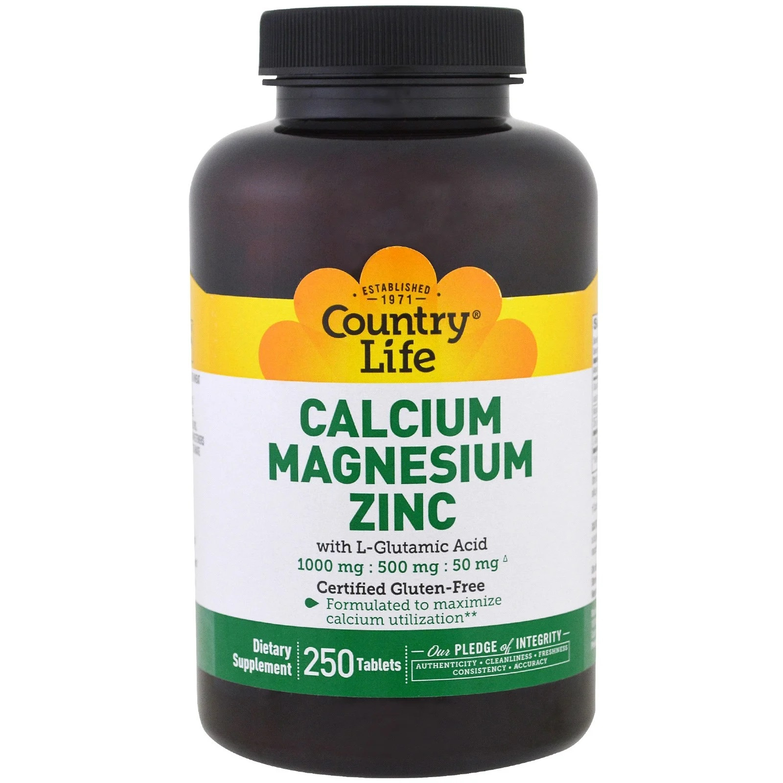 Image of Calcium Magnesium Zinc (250 Tablets) - Country Life 0015794026044