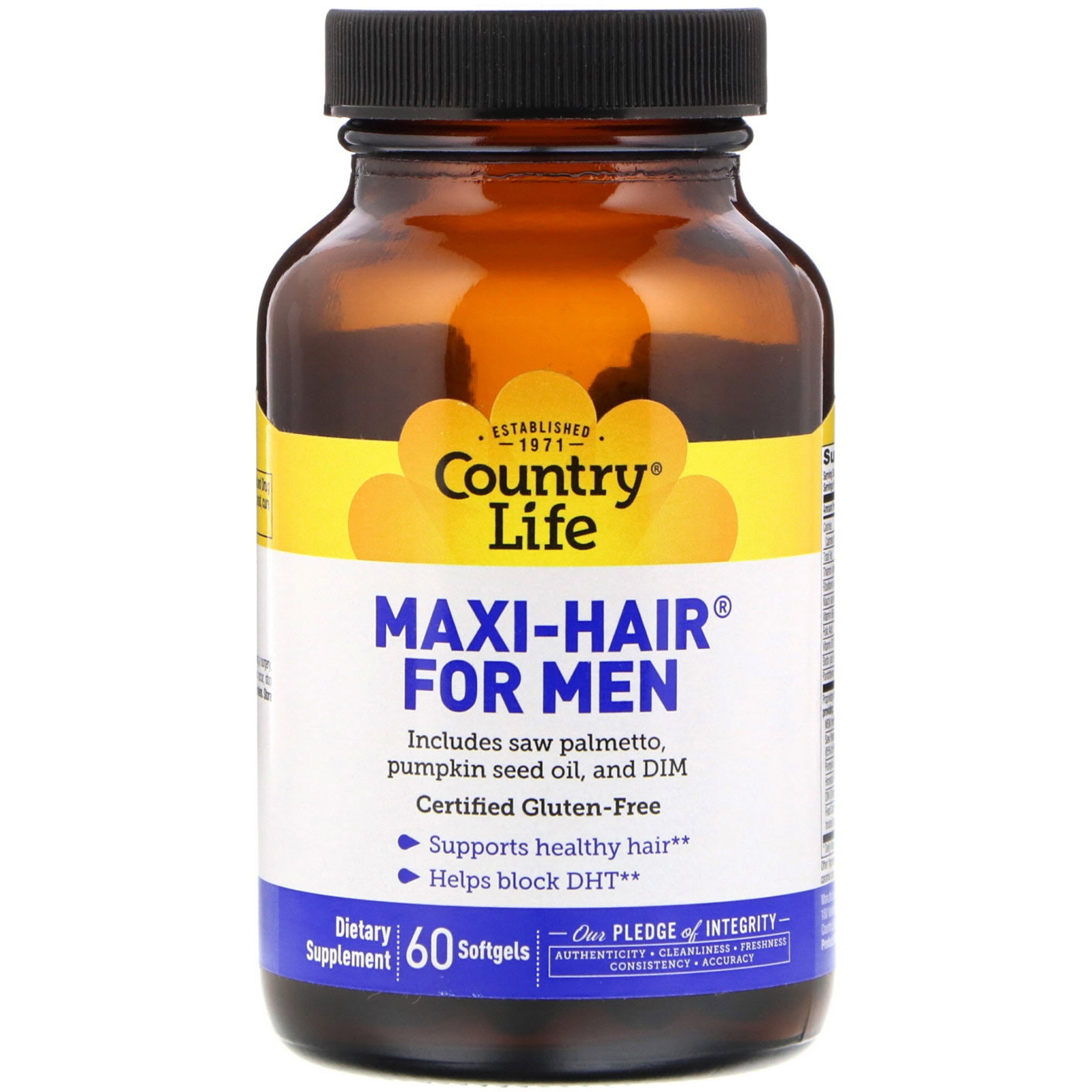 Image of Maxi Hair for Men (60 softgels) - Country Life 0015794050476