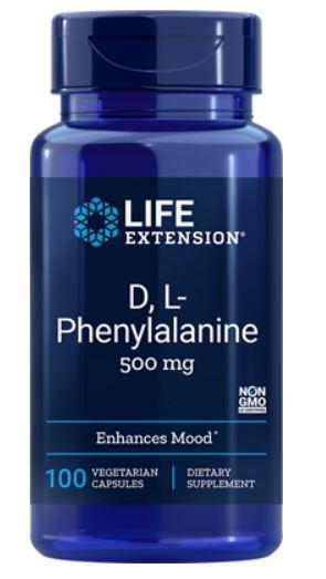 Image of D, L-fenilalanina capsule 500mg - 100 capsule vegetali - Life Extension 0737870167112