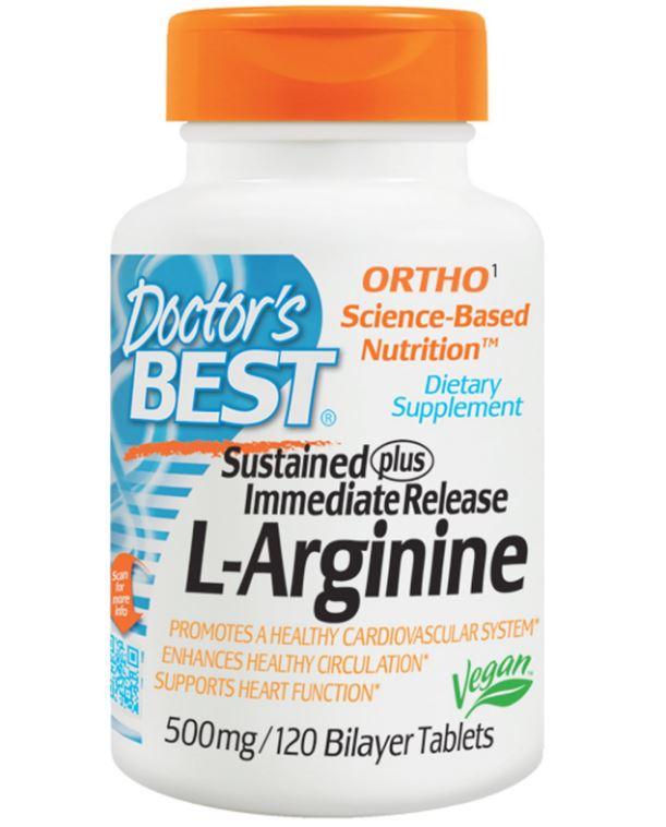 Image of Doctor's Best, L-Arginine, 500 mg, 120 Bilayer Tablets 753950002005
