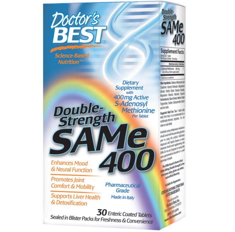 Image of Doctor's Best, SAMe 400 doppia resistenza, 30 compresse rivestite enteriche 0753950001510