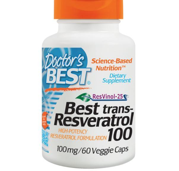Image of Doctor's Best, Best trans-Resveratrol 100, 100 mg, 60 Veggie Caps 0753950001718