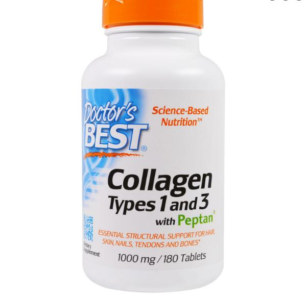 Image of Doctor's Best, Best Collagen Types 1 & 3, 1000 mg, 180 Tablets 0753950002043