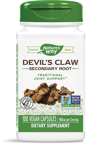 Image of Nature's Way, Devil's Claw Secondary Root, 480 mg, 100 Capsules 0033674123508