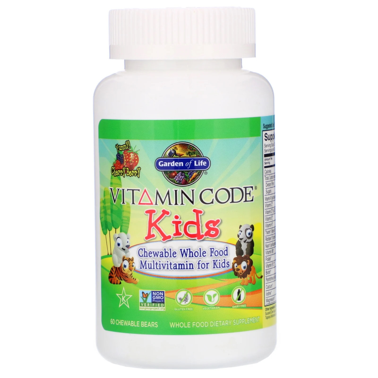Image of Vitamin Code - Chewable Whole Food Multivitamin for Kids - Cherry Berry (60 chewable tablets) - Garden of Life 0658010114400
