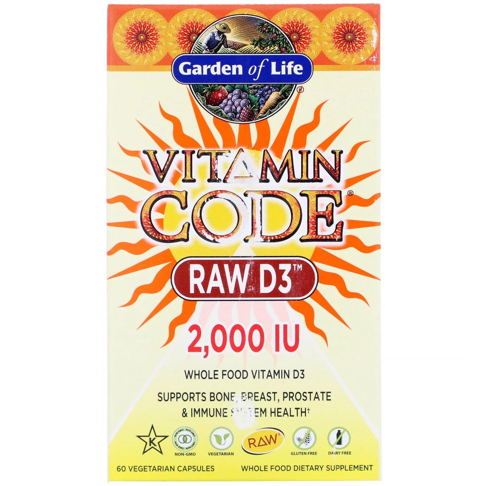 Image of Vitamin Code - Raw D3- 2.000 IU (60 Vegetarian Capsules) - Garden of Life 0658010114134