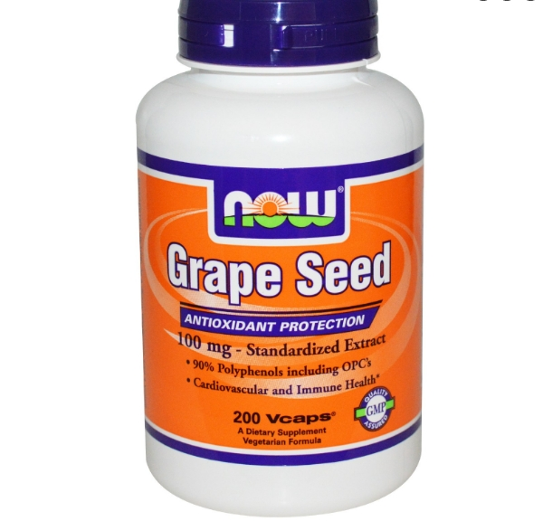 Image of Now Foods, Grape Seed, 100 mg, 200 Vcaps 0733739032492