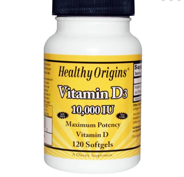 Image of Healthy Origins, vitamina D3, 10.000 IU, 120 Softgels 0603573153533