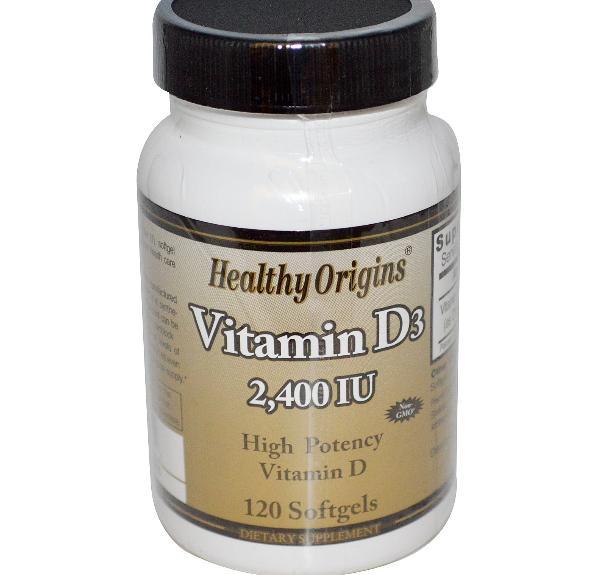 Image of Healthy Origins, vitamina D3, 2.400 IU, 120 Softgels 0603573153052