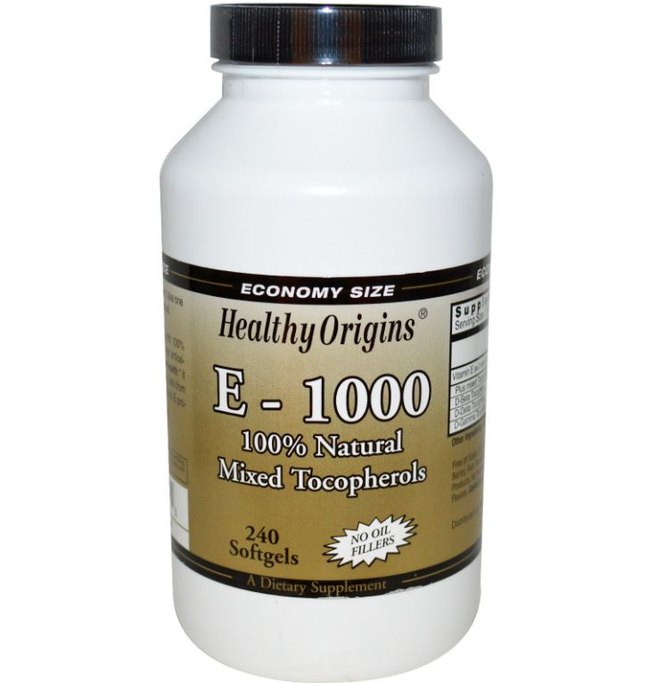Image of E-1000- 100% naturale misto tocoferoli - 240 Softgels - Healthy Origins 0603573151515