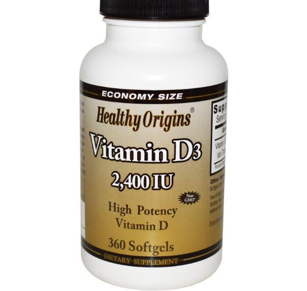 Image of Healthy Origins, vitamina D3, 2.400 IU, 360 Softgels 0603573153083