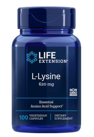 Image of L-Lysine 620 mg 100 Vegetarian Capsules - Life Extension 0737870167815