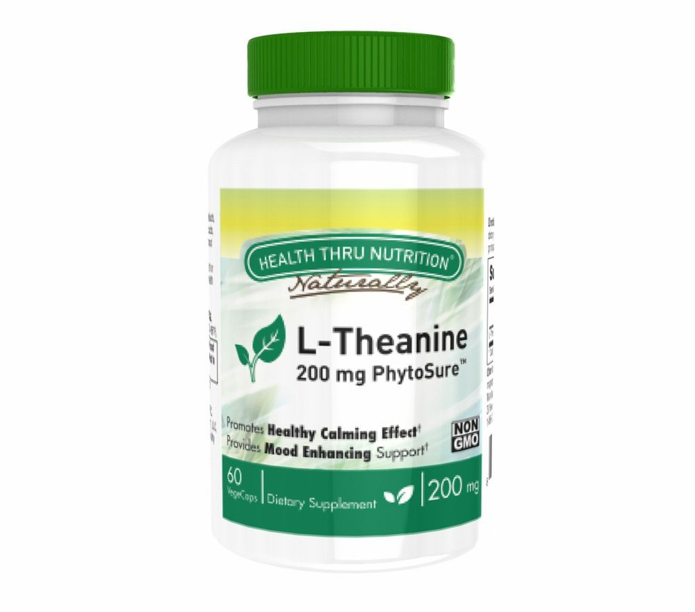 Image of L-Theanine (as PhytoSure™) 200 mg (non-GMO) (60 Vegicaps) - Health Thru Nutrition 0819193020791