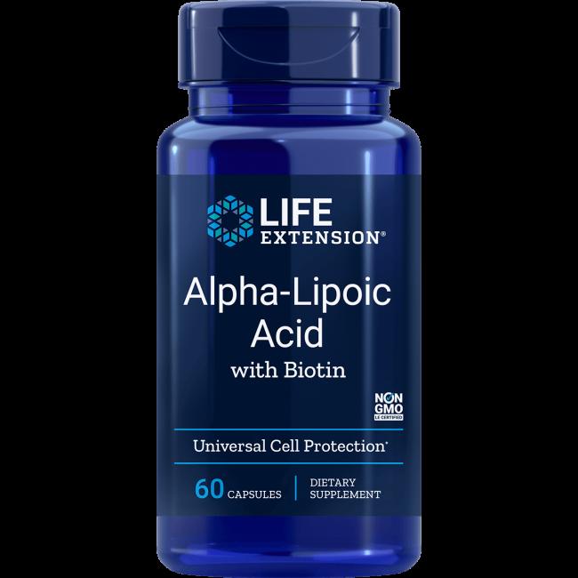 Image of Super Alpha-Acido Lipoico Con Biotina 250 Mg - 60 Capsule - Life Extension 0737870457060