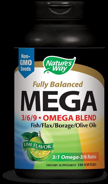 Image of Nature's Way, Mega 3/6/9, Omega Blend, Lime Flavor, 1350 mg, 180 Softgels 0033674154410