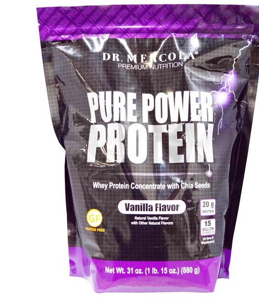 Image of Dr. Mercola, Proteina Pure Power, aroma vaniglia, 880 g 0813006016032
