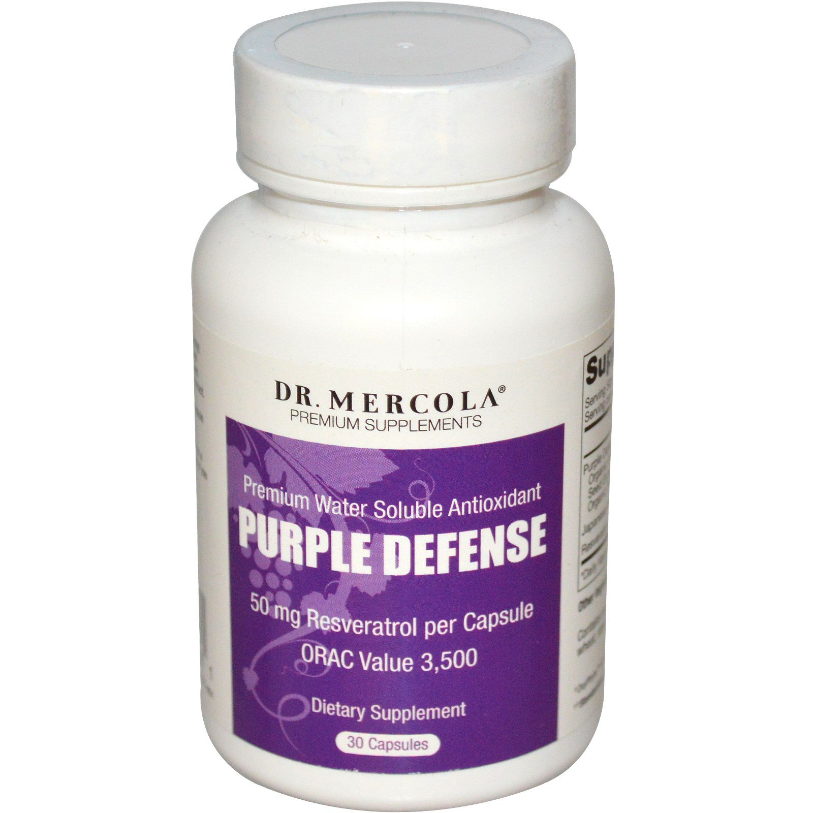 Image of Dr. Mercola, Purple Defense, Premium Water Soluble Antioxidant, 30 Capsules 0813006011341