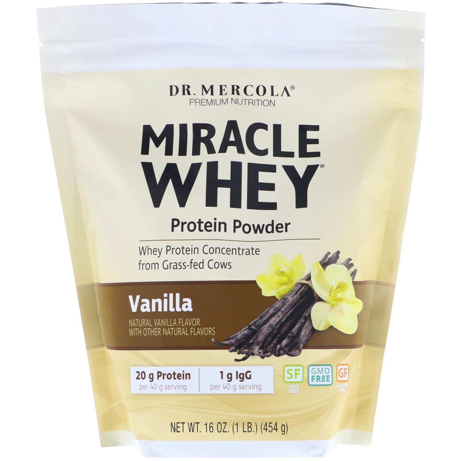 Image of Dr. Mercola, Miracle Whey, Protein Powder, Vanilla, 1 lb (454 g) 0813006011358