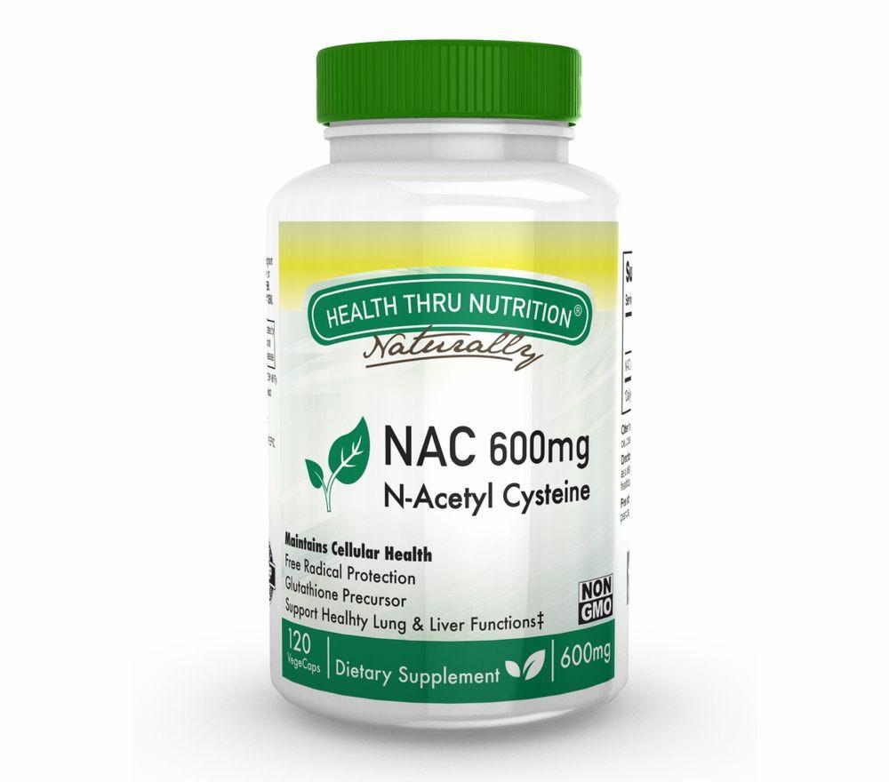 Image of N-Acetyl Cysteine NAC 600 mg (non-GMO) (120 Vegicaps) - Health Thru Nutrition 0819193020395