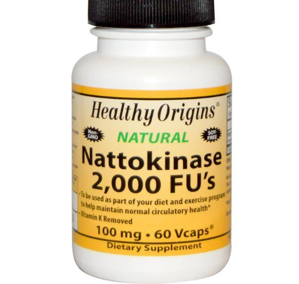 Image of Healthy Origins, Nattokinase, 2,000 FU's (100 mg), 60 Vcaps 0603573251574